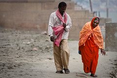Support can come in many ways (Bindaas Madhavi) Tags: street travel people india support visit help aid varanasi kashi oldage saffron benaras hunched uttarpradesh bindaas madhavikuram