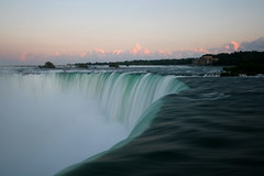 [9a] Niagara Falls - Peering over the Edge (caruba) Tags: mist canada water beautiful clouds niagarafalls pretty dusk smooth wideangle niagara falls 2009 horseshoefalls overtheedge caruba vacation09 sigmawideangle1020mmf456lens