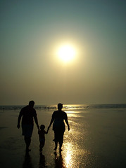Holding hands, as they walk along...[Explored #10] (D a r s h i) Tags: family sunset sea sun beach holding hands moment seashore konkan darshi diveagar