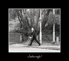 cripple, swinton (Broady - salford artist and photographer) Tags: street people manchester locals walkingstick cripple crutches crutch swinton broady blackwhitephotos stephenbroadhurst aswintoncripple