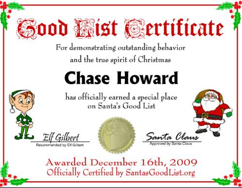 Santas Nice List Certificate Free Printable free printable santa good ...
