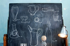 art, meet science. (sfgirlbybay) Tags: nest drawings chalkboard blackboard vessels beakers artscience sfgirlbybay seemsacommonthread fillmorestreetshop