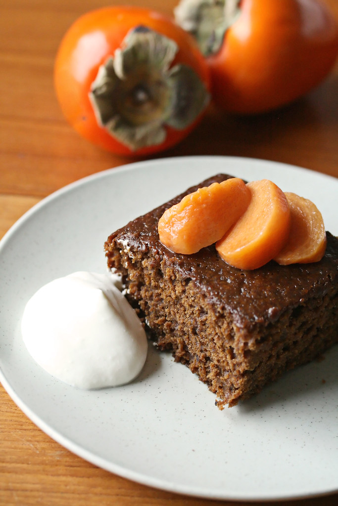 Sticky Gingerbread w/ Poached Persimmons