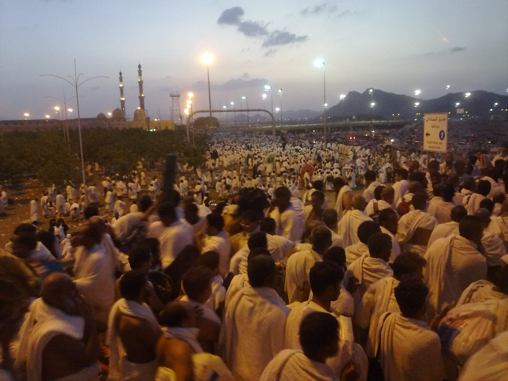 Hajj, Pilgrims, Mecca, Hajj pilgrims leaving Arafat in droves for Muzdalifah at sunset