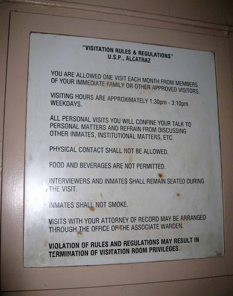 an overview of the alcatraz prison rules and regulations From 1934 to 1963, alcatraz was a maximum high-security federal prison on alcatraz island one of the world's most notorious and best known prisons over the years, alcatraz housed some of america's most ruthless criminals.