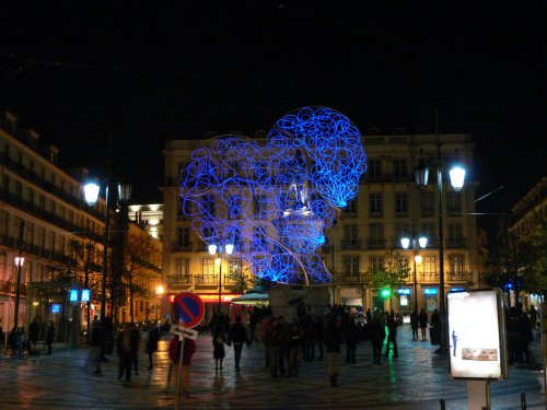 Lisbon Christmas lights in Chiado