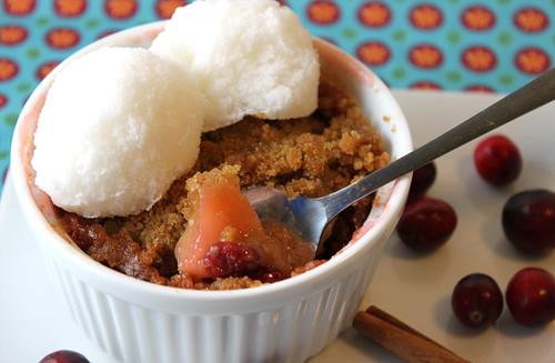 Cranberry and Apple Crisp with Snow Ice Cream