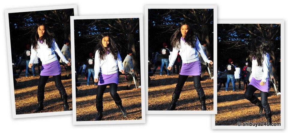My niece getting into the dance rhythm in Yoyogi Park, Tokyo
