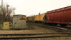 Southbound Canadian Pacific unit grain train passing through Hawthorne Junction. Chicago / Cicero Illinois. Febuary 2010.