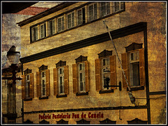 Padaria Pastelaria Pau de Canela (Audrey A Jackson) Tags: windows sky building history texture lamp sign cafe shutters walls flagpole canon450