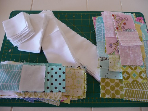All the pieces cut for the Floral Bouquet quilt.