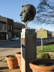 BRING ME THE HEAD OF WENDELL FORD on a pedestal. (Tim Kiser) Tags: 2016 20160103 3rdstreet 3rdandstann daviesscounty daviesscountycourthouse daviesscountykentucky img7525 january january2016 kentucky kentuckygovernor owensboro owensborokentucky saintannstreet stannstreet thirdstreet thirdandstann ussenator wendellford wendellfordportraitsculpture wendellhford wendellhfordportraitsculpture west3rdstreet westthirdstreet bust cloudlesssky countycourthouse countycourthousegrounds courthousegrounds disembodiedhead downtown downtownowensboro governor governorofkentucky headofwendellford headofwendellhford headsculpture paved pavement plantcontainers planters portraitbust portraitbustwithoutshoulders portraithead senator severedhead sidewalk sunny sunnymorning tributetoadog westkentucky westernkentucky unitedstates