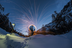 The fire man... (Photo-LB) Tags: nikon d800 fire feu fisheye nocturne neige italie montagne vallé aosta aoste valléedaoste chaudfroid contraste samyang lumière lampadaire bouledefeu