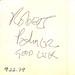 Robert Palmer Autograph - 9/22/79