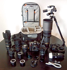 My gear (Tambako the Jaguar) Tags: photography nikon gear equipment explore lenses d300 tc20eii tc14eii tc17eii manfrottotripod afsvr70200mmf28gifed loweprovertex200aw sigmaem140dg mbd10 afsdx1224mmf4gifed afs50mmf14g afs2470mmf28gifed afsvr200400mmf4gifed afs60mmf28gifedmicro afsvr105mmf28gifedmicro metzmecablitz58af1