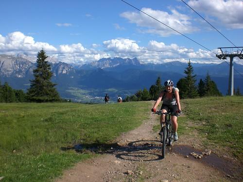 Mountainbiketrail auf das Rittner Horn im Bereich der Skipiste