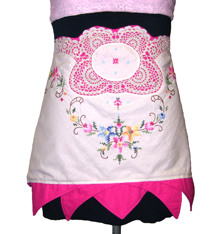 Apron - vintage embroidery and lace