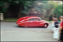 The 87 Zooms Away (tatraskoda) Tags: auto uk motion classic film car 35mm automobile tour czech rally voiture oldtimer streamlined register annual truk praktica v8 87 czechoslovakia tatra t87 aircooled easterneuropean mtl5b costswolds rearengined 10millionphotos commiecamera
