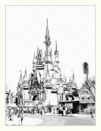 Cinderella Castle     FotoSketcher  Black and White Disney Castle Black And White