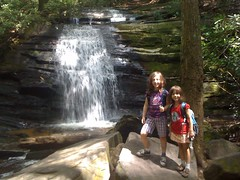 The Girls at Long Creek Falls Main Cascade