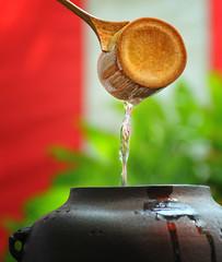 TEA CEREMONY (ajpscs) Tags: red utensils japan japanese tokyo nikon tea ceremony chiba  nippon  teaceremony teacup spiritual sado kama chawan ichinomiya d300 chanoyu  mobara hishaku chasen teabowl   ironpot chashaku  teacloth ajpscs  teascoop chakin sad bambooladle    spiritofzen teawhisk   chagama mastersennorikyu
