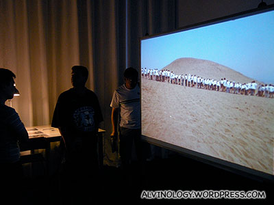 Video showing the dune being displaced