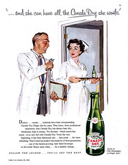 1952--- 20cc of ginger ale- stat! (x-ray delta one) Tags: vintage magazine ads advertising suburban ad suburbia retro nostalgia 1940s doctor 1950s americana nurse 1960s atomic populuxe housewife coldwar softdrink gingerale canadadry popularscience popularmechanics magazineillustration atomicpower