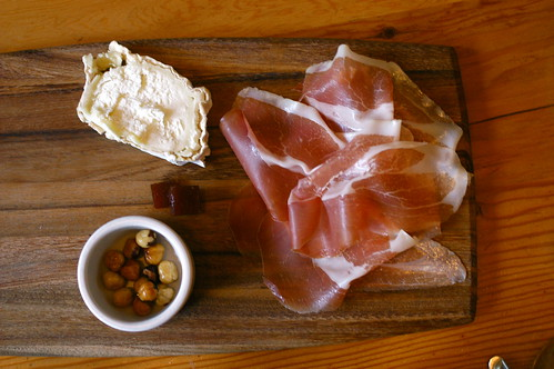cheese and prosciutto plate