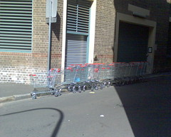 Queue of shopping trollies