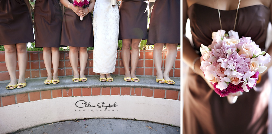 Bridal details, chocolate brown dresses and soft pink floral bouquets, yellow wedding shoes image