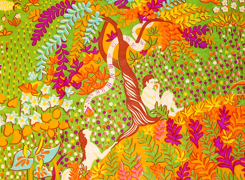 Psychedelic Garden of Eden Fabric: People Detail