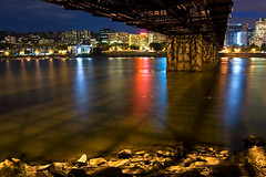 Hawthorne (Jon Asay ) Tags: city bridge light urban reflection night oregon river portland long exposure hawthorne willamette  vle