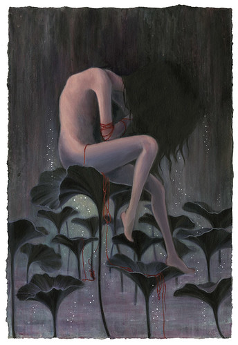 "Restless Silence. 12""x17.5"". Oil & Acrylic on Paper. ©2009."