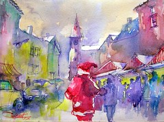 march de Nol / Christmas market (chrisaqua47) Tags: christmas france art watercolor painting town village market aquarelle peinture alsace acuarela nol march prenol flickrunitedaward