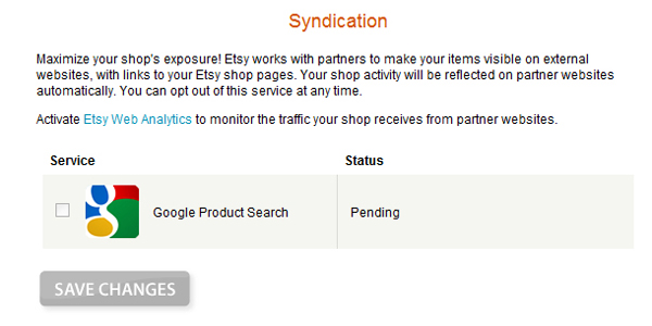 Screen shot of pending google product search syndication feed