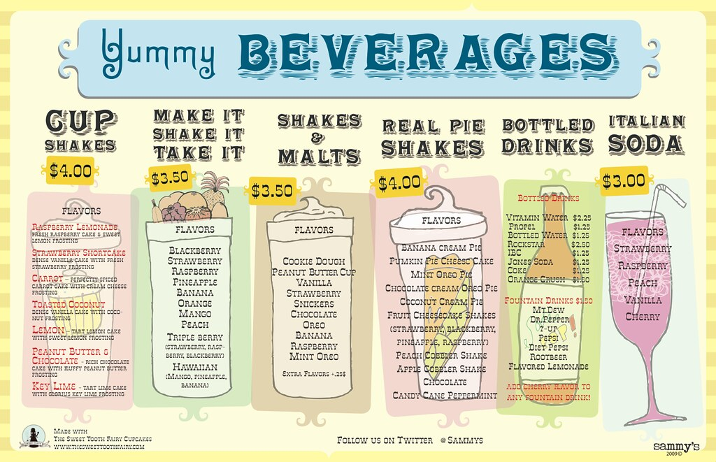 Sammys Beverage Menu