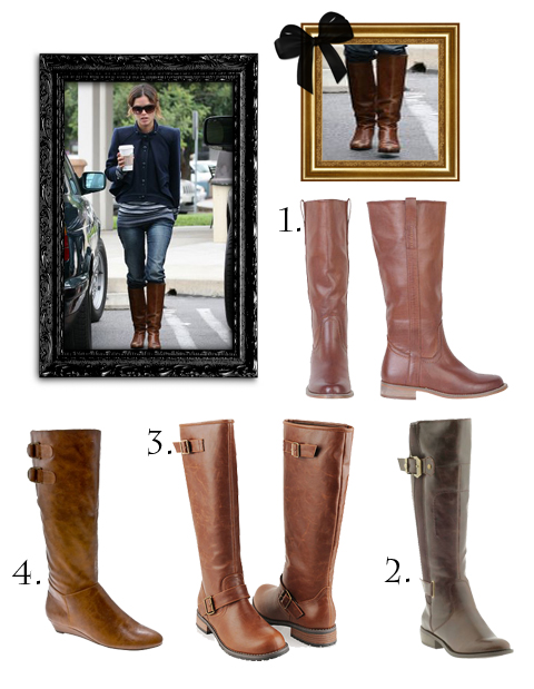 rachel bilson and selena gomez look alike. Rachel Bilson Brown Flat Boots