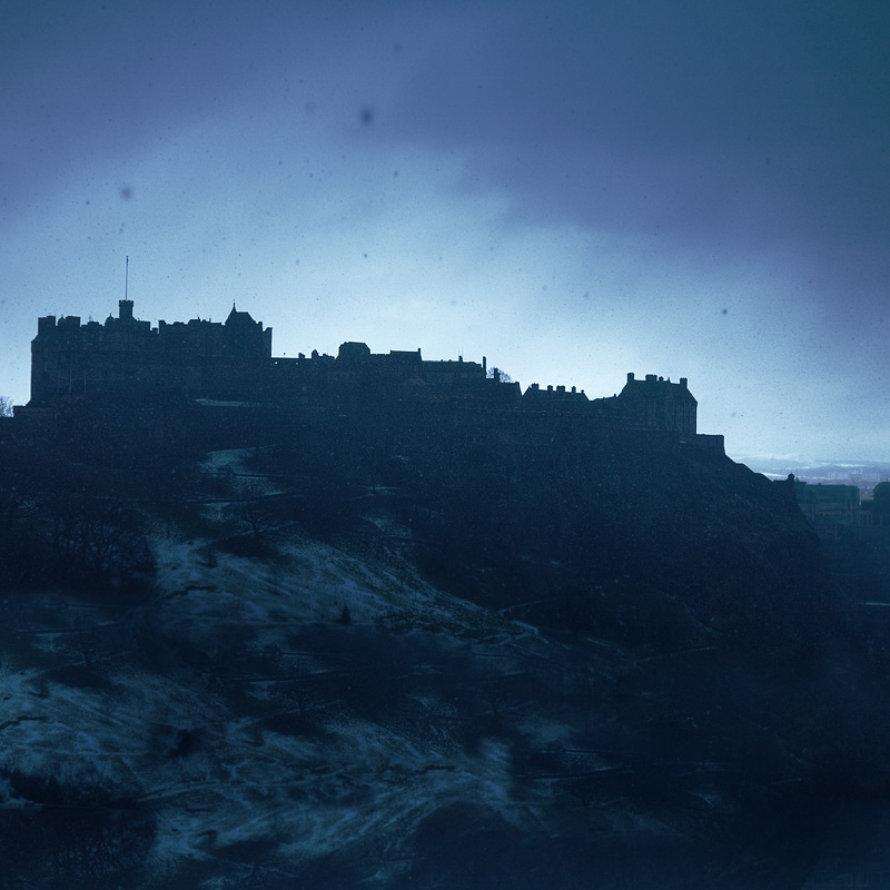 snow over Edinburgh castle