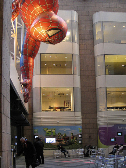 Spiderman, at the Sony Plaza