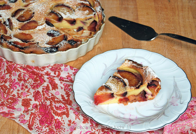 Red plum clafoutis