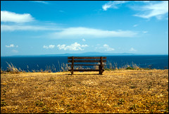 Bench with a view (zebra404) Tags: blue wedding sea vacation clouds bench view horizon wolken greece thessaloniki 2009 zebra404 smrgsbord bankje chalkidiki bruiloft griekenland afytos zeezicht timroff allfavouritephotos nonzilverbatianblue