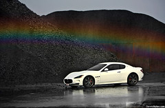 Over the rainbow.. (Denniske) Tags: blue red orange white reflection green wet colors rain yellow regenboog canon reflections eos is rainbow colours purple photoshoot belgium belgique 05 belgi july s rainy 09 bow l gran antwerp mm gt dennis blanche 5th turismo wit weiss bianco 70200 2009 f28 supercar ef v8 antwerpen maserati 07 anvers gts maser granturismo fotoshoot noten lseries llens 40d denniske dennisnotencom wwwdennisnotencom