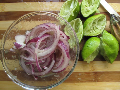 Sliced onions in Lime juice