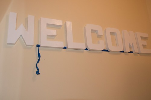 "Hanging the ""WELCOME"""