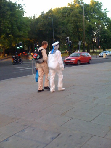 Ghostbuster + Marshmallow Man = normal night in Clapham