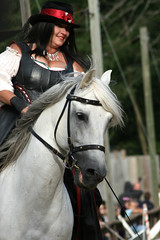 The start of the joust (quinn.anya) Tags: woman bristolrenaissancefaire trainer stallion whitehorse renaissancefair lipizzaner acierto lauraamandis