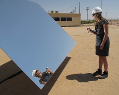 Solar Thermal Fashion (jurvetson) Tags: hardhat mirror solar israel desert courtney shades alternativeenergy negev thermal rotem geekchic heliostats fdweareinvestors sedc brightsource