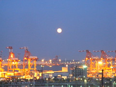 The moon over the cranes of Tokyo Bay