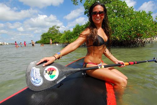 : paddle, sup, surf, board, bikini