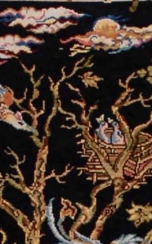 """Hereke Silk Carpet """"Tree of Life"""" - Detail 12 x 12 (0,31 m²)"""